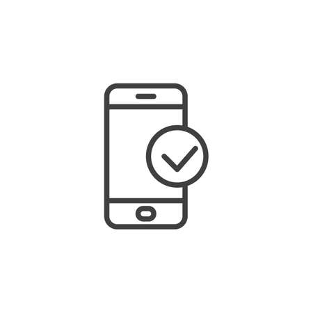 Smartphone Check line icon. linear style sign for mobile concept and web design. Phone check mark outline vector icon. Symbol, illustration. Vector graphics 向量圖像