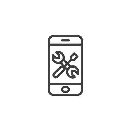 Smartphone with screwdriver and wrench line icon. linear style sign for mobile concept and web design. Adjusting, service repair outline vector icon. Symbol, illustration. Vector graphics Foto de archivo - 129808707