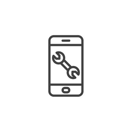 Phone with wrench line icon. linear style sign for mobile concept and web design. Smartphone repair outline vector icon. Symbol,  illustration. Vector graphics