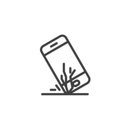 Broken smartphone screen line icon. linear style sign for mobile concept and web design. Mobile phone falls outline vector icon. Symbol,  illustration. Vector graphics