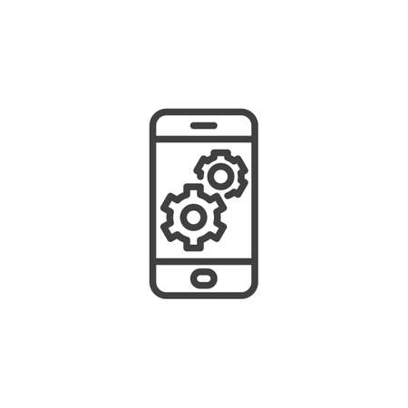 Mobile phone settings line icon. linear style sign for mobile concept and web design. Smartphone screen with gear outline vector icon. Symbol, illustration. Vector graphics Çizim
