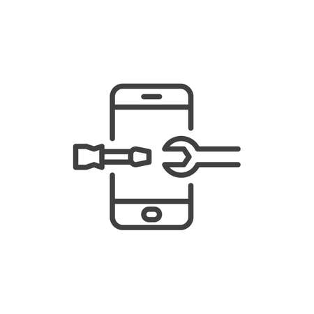 Telephone with screwdriver and wrench line icon. linear style sign for mobile concept and web design. Mobile phone repair outline vector icon. Symbol, illustration. Vector graphics Foto de archivo - 129808717