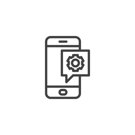 Phone settings notification line icon. Mobile repair support linear style sign for mobile concept and web design. Smartphone with gear outline vector icon. Symbol,  illustration. Vector graphics Foto de archivo - 129808716
