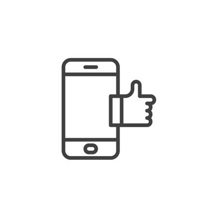 Smartphone with like notice line icon. linear style sign for mobile concept and web design. Mobile phone with thumb up outline vector icon. Symbol, illustration. Vector graphics Illusztráció