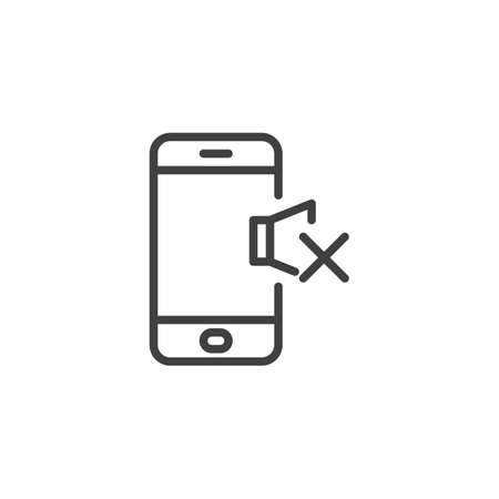 Phone silent mode line icon. linear style sign for mobile concept and web design. Mobile phone volume mute outline vector icon. Symbol, illustration. Vector graphics Stok Fotoğraf - 129808722