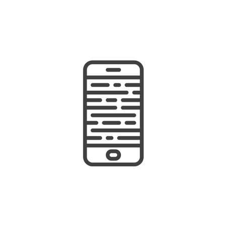Broken smartphone screen line icon. linear style sign for mobile concept and web design. Mobile phone display repair outline vector icon. Symbol, illustration. Vector graphics
