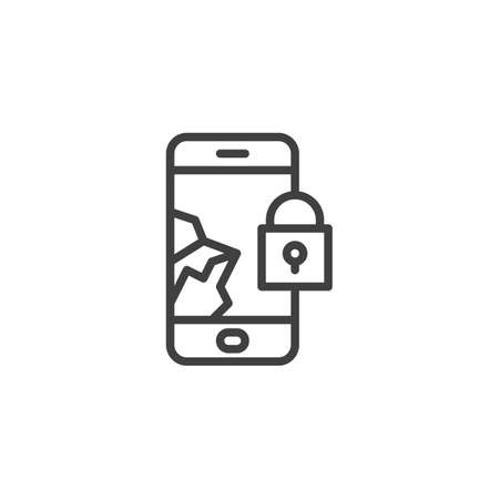 Broken and blocked smartphone screen line icon. linear style sign for mobile concept and web design. Mobile phone repair outline vector icon. Symbol, illustration. Vector graphics