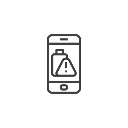 Phone battery low alert line icon. linear style sign for mobile concept and web design. Smartphone battery warning sign outline vector icon. Symbol, illustration. Vector graphics