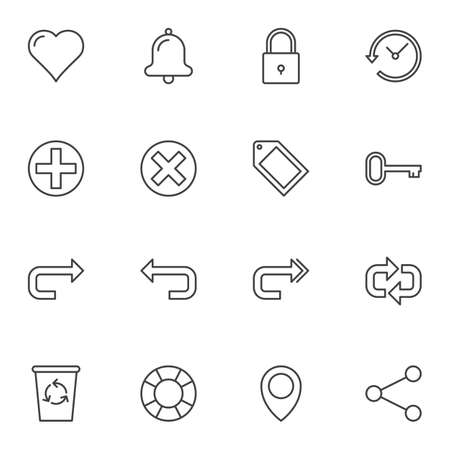 Universal Basic line icons set. linear style symbols collection, outline signs pack. vector graphics. Set includes icons as heart like, notification, add and cancel button, next and back arrow, share Ilustração