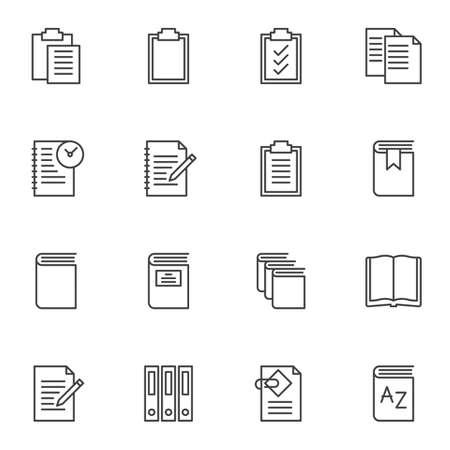 Dokumentdateiordner Liniensymbole gesetzt. Sammlung von Symbolen im linearen Stil, Packung mit Umrisszeichen. Vektorgrafiken. Das Set enthält Symbole wie Papierzwischenablage, Aufgabenliste, offene Buchseite, Büroordner, Notizbuch