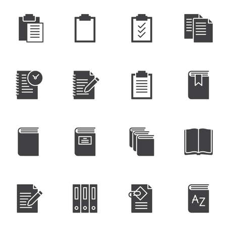 Document file folders vector icons set, modern solid symbol collection, filled style pictogram pack. Signs illustration. Set includes icons as paper clipboard, open book, office folders, notebook Ilustrace