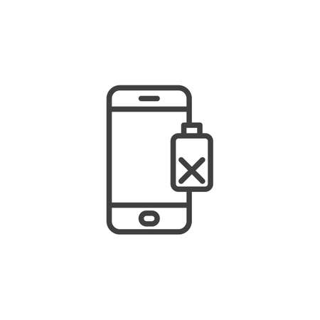 Damaged phone battery line icon. linear style sign for mobile concept and web design. Smartphone battery low outline vector icon. Symbol, illustration. Vector graphics Illusztráció