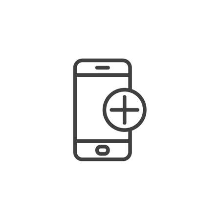 Mobile phone with add sign line icon. linear style sign for mobile concept and web design. Smartphone plus outline vector icon. Symbol,  illustration. Vector graphics Çizim