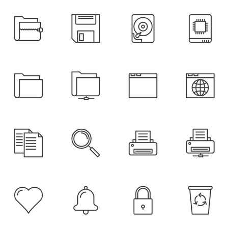 Universal basic line icons set. linear style symbols collection, outline signs pack. vector graphics. Set includes icons as document file folders, archive, HDD, printer, browser web page, notification