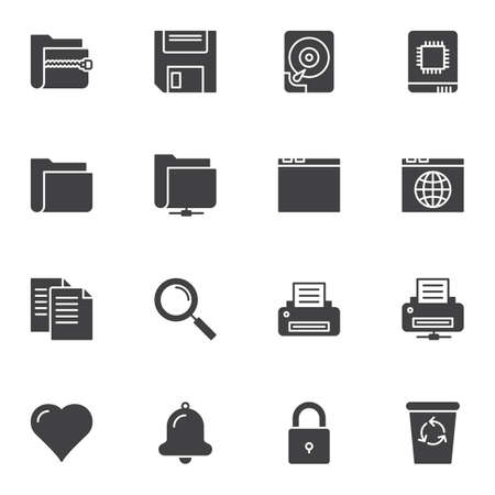 Universal basic vector icons set, modern solid symbol collection, filled style pictogram pack. Signs, illustration. Set includes icons as document file folders, HDD, printer, browser web page