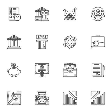 Business and finance line icons set. linear style symbols collection outline signs pack. vector graphics. Set includes icons as bank building, credit card, money bill, gold bar, money saving, contract Stock fotó - 129809810