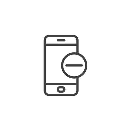 Mobile phone with minus sign line icon. linear style sign for mobile concept and web design. Smartphone Remove Delete outline vector icon. Symbol, illustration. Vector graphics Ilustração