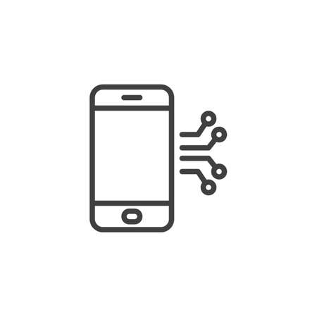 Mobile phone circuit line icon. linear style sign for mobile concept and web design. Smartphone repair outline vector icon. Symbol, illustration. Vector graphics Çizim