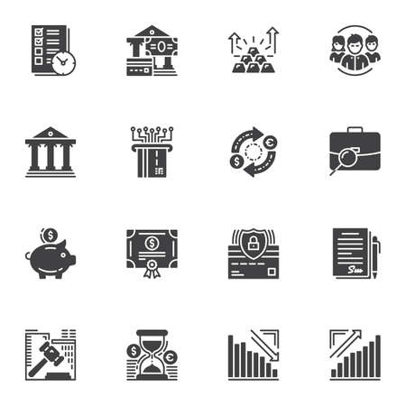 Business and finance vector icons set, modern solid symbol collection, filled style pictogram pack. Signs, illustration. Set includes icons as bank building, credit card, money bill, gold bars Stok Fotoğraf - 129809814