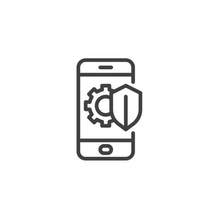 Phone protection shield line icon. Mobile repair guarantee linear style sign for mobile concept and web design. Smartphone screen with gear and shield outline vector icon. Symbol, illustration. Çizim