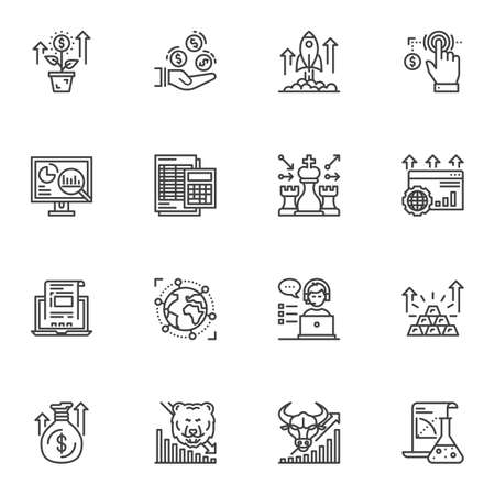 Business and finance line icons set. linear style symbols collection, outline signs pack. vector graphics. Set includes icons as accounting calculator, startup rocket, money bag, investment, marketing Ilustração