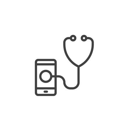 Smartphone diagnostic line icon. linear style sign for mobile concept and web design. Mobile phone with stethoscope outline vector icon. Symbol,  illustration. Vector graphics