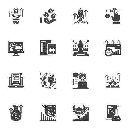 Business and finance vector icons set, modern solid symbol collection, filled style pictogram pack. Signs, illustration. Set includes icons as accounting calculator, startup rocket, marketing Stok Fotoğraf - 129809865