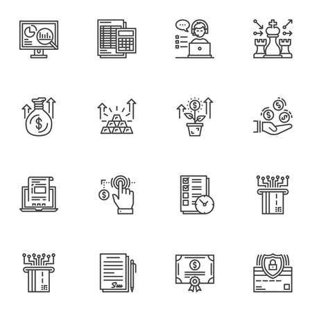 Financial success line icons set. linear style symbols collection, outline signs pack. vector graphics. Set includes icons strategy chess, growing dollar tree, money investment, guarantee certificate