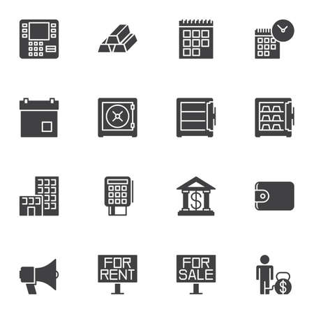 Finance Universal vector icons set, modern solid symbol collection, filled style pictogram pack. Signs,  illustration. Set includes icons as atm, gold bars, calendar page, safe, bank, payment