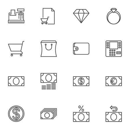Finance line icons set. linear style symbols collection, outline signs pack. vector graphics. Set includes icons as cash register machine, shopping bag, atm, diamond ring, dollar money bill, cashback Illusztráció