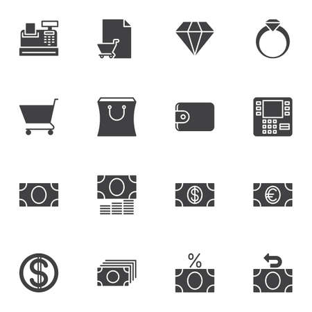 Finance vector icons set, modern solid symbol collection, filled style pictogram pack. Signs, illustration. Set includes icons as cash machine, shopping bag, atm, diamond ring, dollar money bill