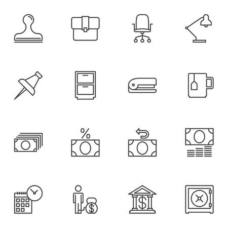 Bank office line icons set. linear style symbols collection, outline signs pack. vector graphics. Set includes icons as stamp, portfolio, chair, desk lamp, push pin, cupboard, stapler, money bill