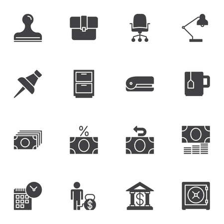 Bank office vector icons set, modern solid symbol collection filled style pictogram pack. Signs illustration. Set includes icons as stamp, portfolio, chair, desk lamp, push pin, cupboard, stapler