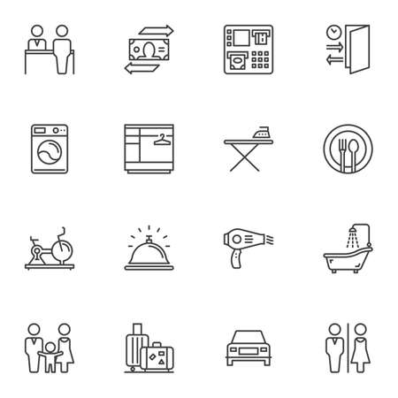 Hotel service line icons set. linear style symbols collection, outline signs pack. vector graphics. Set includes icons, reception, restaurant, gym, shower, toilet, food tray, family room