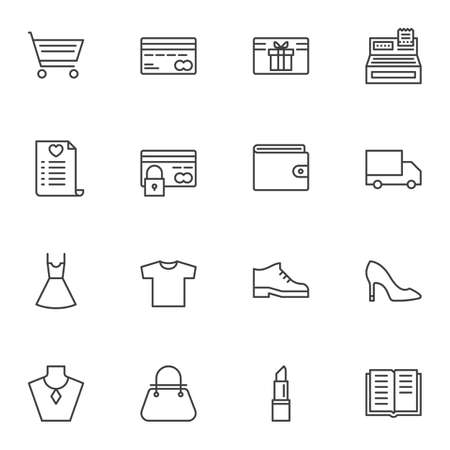 Online store line icons set. linear style symbols collection, outline signs pack. vector graphics. Set includes icons as shopping cart, credit card, gift card, cash register machine, wallet, delivery