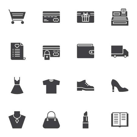 Online store vector icons set, modern solid symbol collection, filled style pictogram pack. Signs, illustration. Set includes icons as shopping cart, credit card, gift card, cash register machine