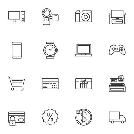 Online shopping line icons set. linear style symbols collection, outline signs pack. vector graphics. Set includes icons as computer monitor, photo camera, smartphone, laptop, game controller, payment 일러스트