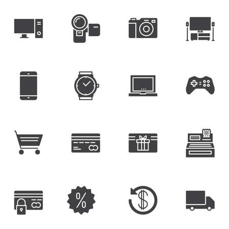 Online shopping vector icons set, modern solid symbol collection filled style pictogram pack. Signs illustration. Set includes icons as computer monitor, photo camera, smartphone, laptop, payment