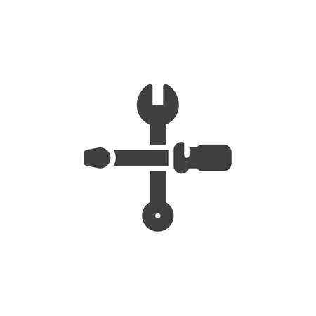 Wrench and screwdriver vector icon. filled flat sign for mobile concept and web design. Fix, repair service glyph icon. Support symbol, illustration. Vector graphics Foto de archivo - 129809894