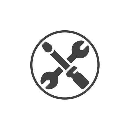 Crossed screwdriver and wrench vector icon. Setup tools filled flat sign for mobile concept and web design. Screwdriver and spanner glyph icon. Symbol,  illustration. Vector graphics Foto de archivo - 129809898