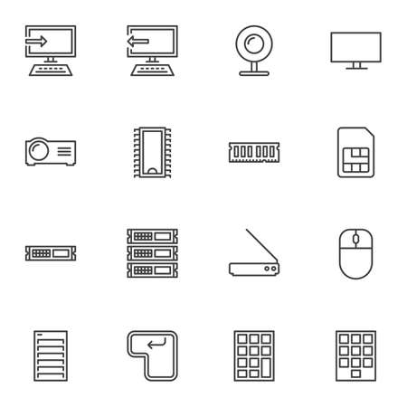Computer parts line icons set. linear style symbols collection, outline signs pack. vector graphics. Set includes icons as desktop computer monitor, microchip, mouse, keypad, webcam, RAM computer