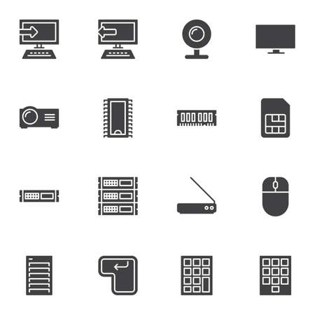 Computer parts vector icons set, modern solid symbol collection, filled style pictogram pack. Signs, illustration. Set includes icons as desktop computer monitor, microchip, keypad, webcam, RAM