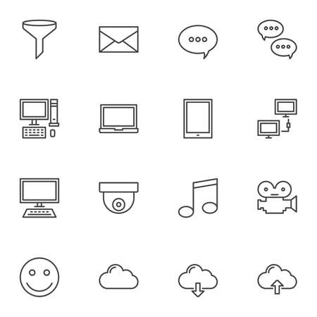 Universal computer line icons set. linear style symbols collection, outline signs pack. vector graphics. Set includes icons as funnel filter, chat message, speech bubble, desktop computer set, laptop