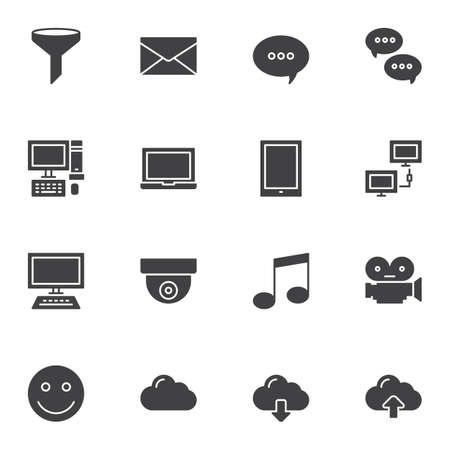 Universal computer vector icons set, modern solid symbol collection, filled style pictogram pack. Signs, illustration. Set includes icons as funnel filter, chat message, desktop computer, laptop