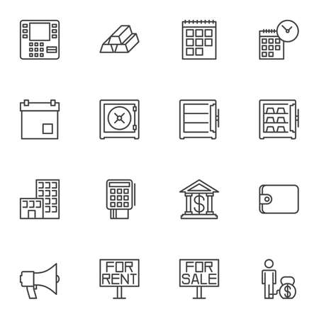 Finance Universal line icons set. linear style symbols collection, outline signs pack. vector graphics. Set includes icons as atm, gold bars, calendar page, deadline, safe, bank, payment card, wallet