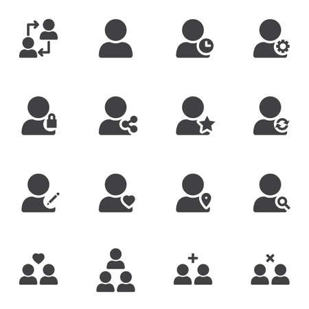 Basic user vector icons set, modern solid symbol collection filled style pictogram pack. Signs illustration. Set includes icons as user group, personal settings, share contact, block, rating star Ilustração