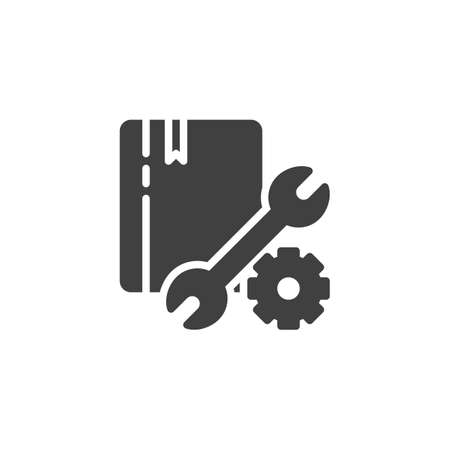 Support, manual book vector icon. Technical service filled flat sign for mobile concept and web design. Book with settings gear and wrench glyph icon. Symbol, illustration. Vector graphics