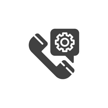 Service call vector icon. Telephone and settings gear bubble filled flat sign for mobile concept and web design. Technical support service glyph icon. Symbol, illustration. Vector graphics