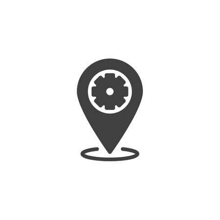 Technical service location pin vector icon. Repair service map marker filled flat sign for mobile concept and web design. Map Pointer Gear glyph icon. Symbol,  illustration. Vector graphics Ilustrace