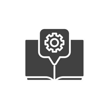 Gear Book vector icon. Technical support, guide manual filled flat sign for mobile concept and web design. Book with cogwheel glyph icon. Symbol, illustration. Vector graphics Çizim